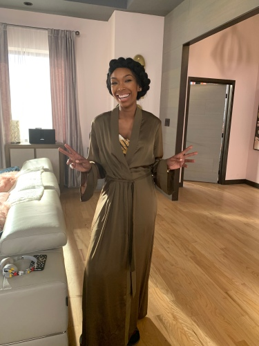Cassie in Zara slip dress and Fendi silk robe